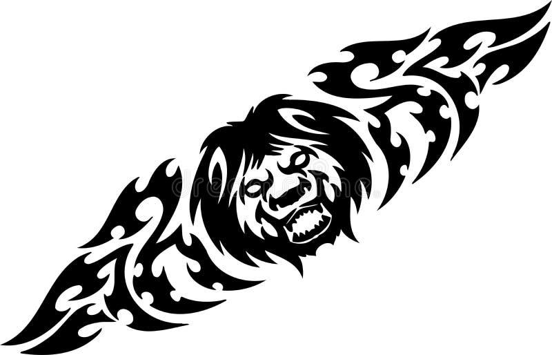 Leão e tribals simétricos - ilustração do vetor. ilustração stock