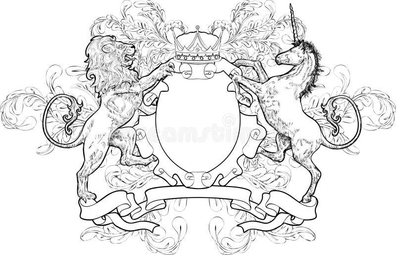 Leão e unicórnio monocromáticos Co ilustração do vetor