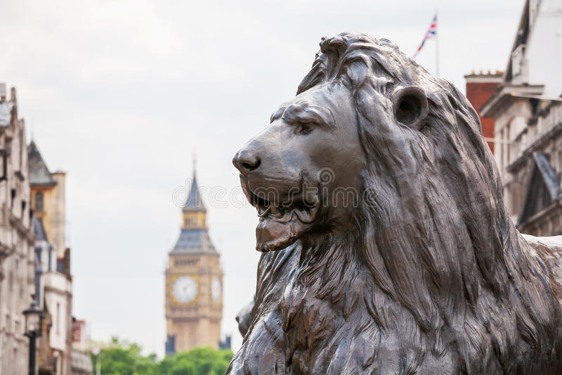 Leão em Trafalgar Square Londres, Inglaterra imagens de stock