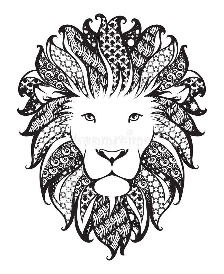 Leão estilizado linear Gráfico preto e branco A ilustração do vetor pode ser usada como o projeto para a tatuagem, t-shirt, saco, ilustração royalty free