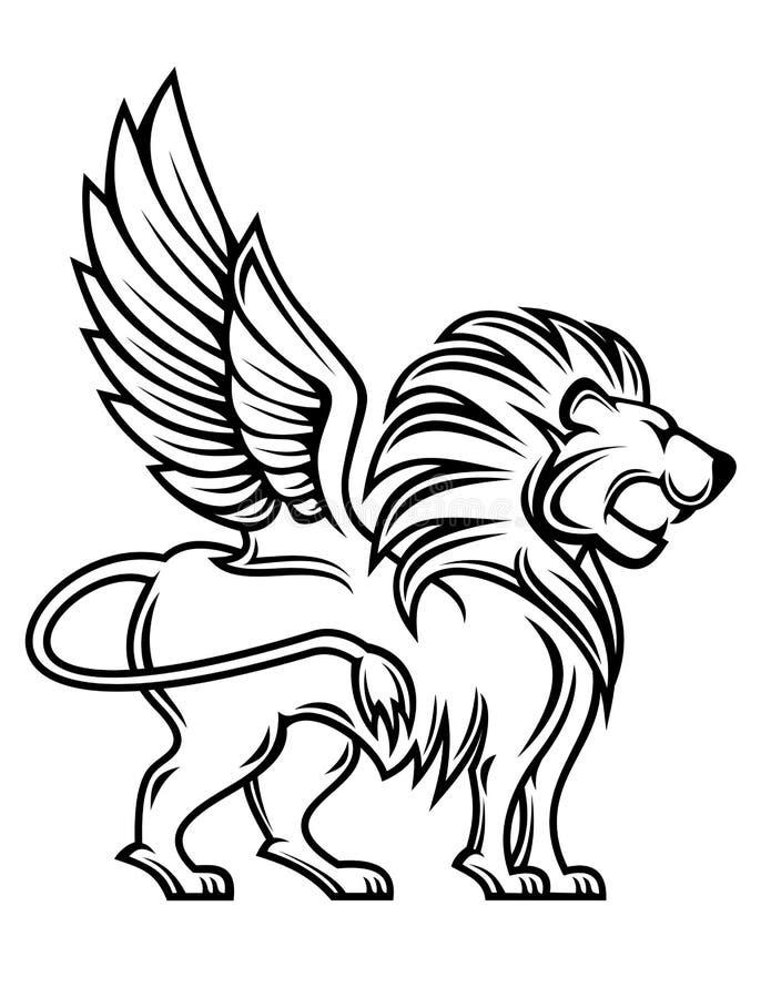 Leão heráldico ilustração royalty free