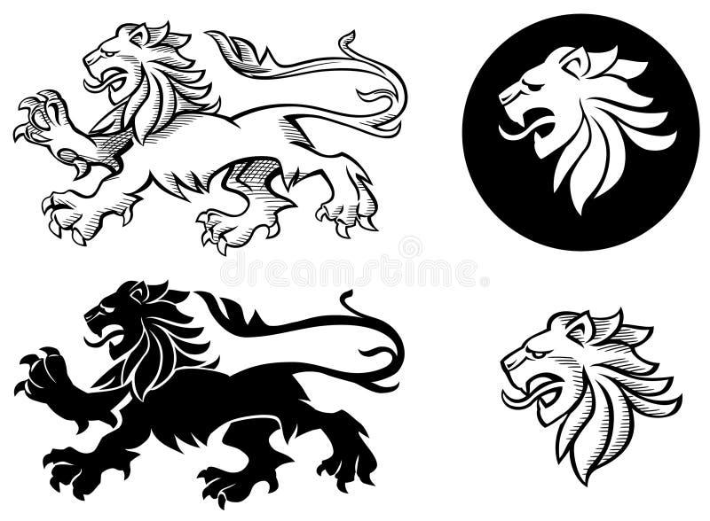 Leão heráldico Silhuoette ilustração royalty free