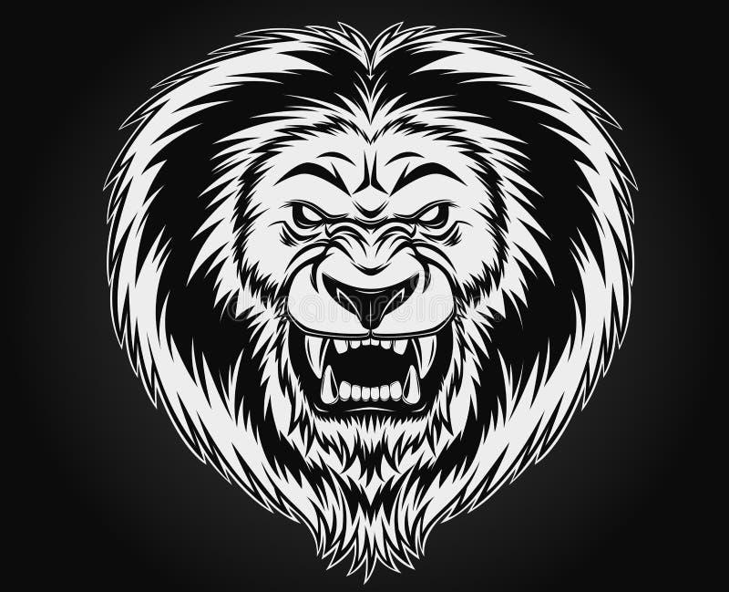 Leão irritado ilustração stock