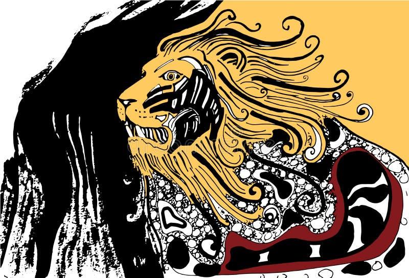 Leão irritado orgulhoso Leão asteca Leão decorativo ilustração do vetor