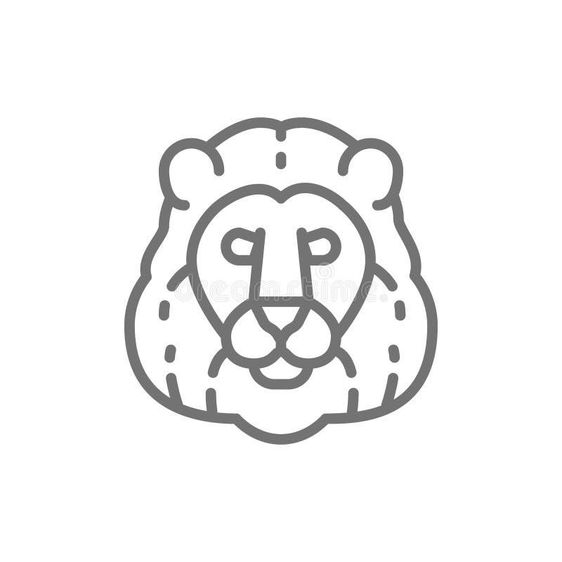 Leão, linha principal ícone do gato selvagem ilustração do vetor