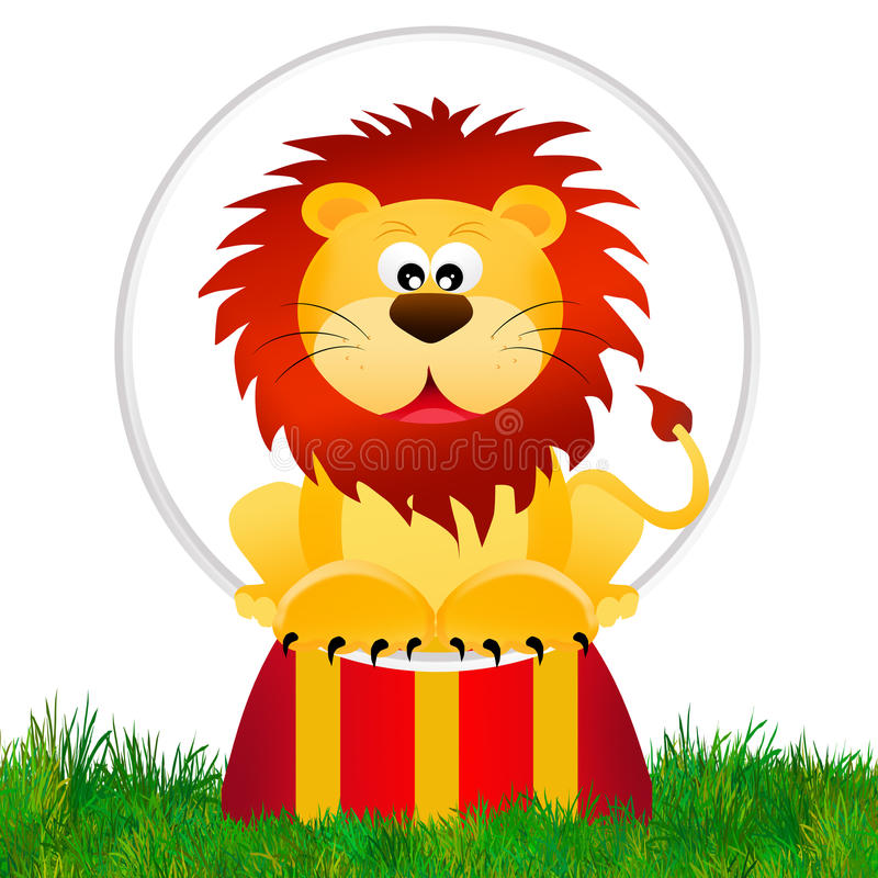 Leão no circo ilustração royalty free