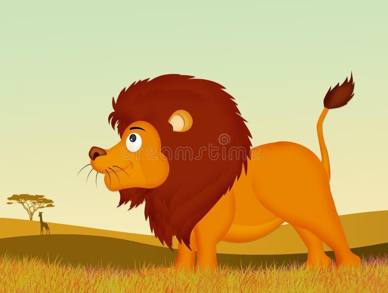 Leão no selvagem ilustração do vetor