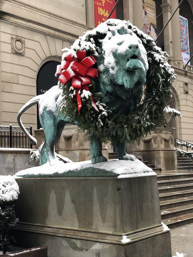 Leão norte coberto de neve imagem de stock