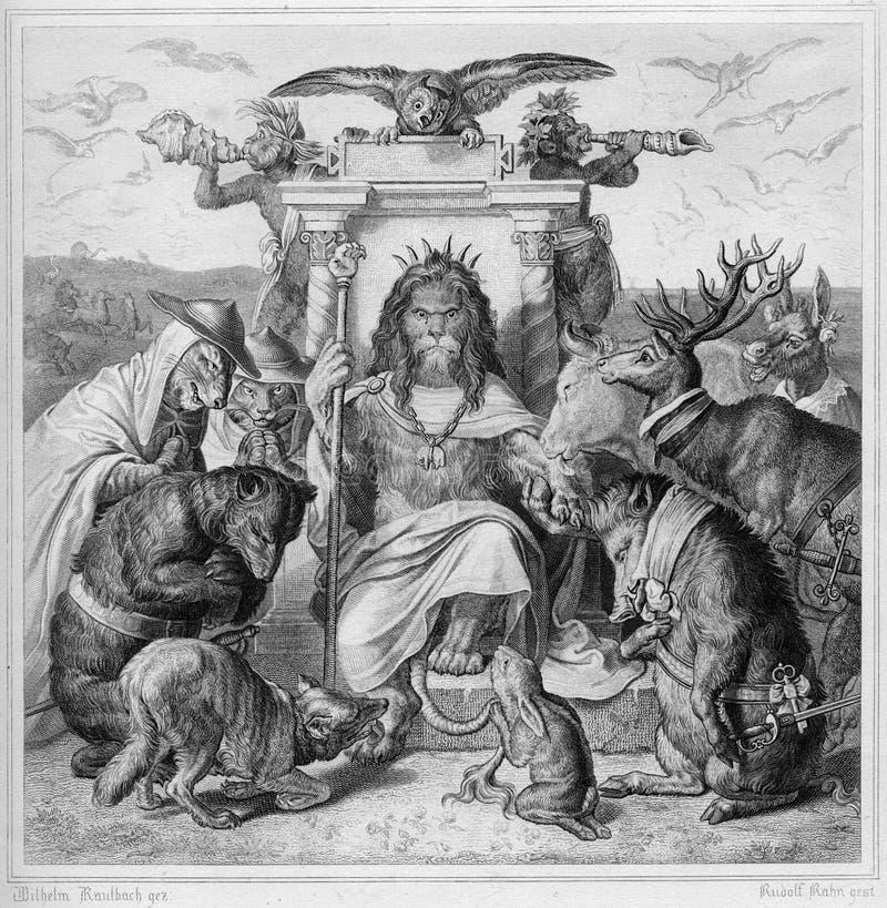 Leão o rei de animais a gravura velha da antiguidade registra 1890 fotografia de stock royalty free
