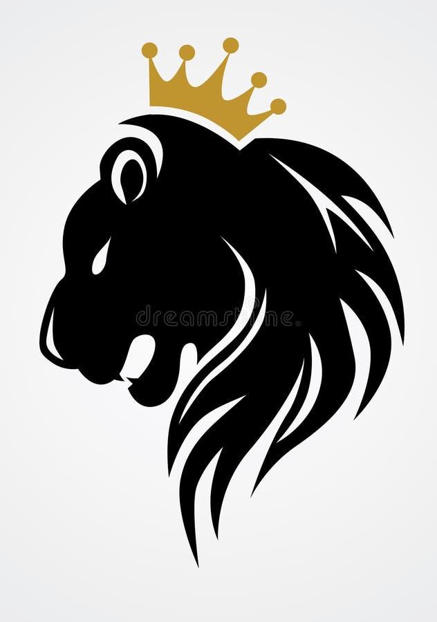 Leão preto com coroa do ouro ilustração stock