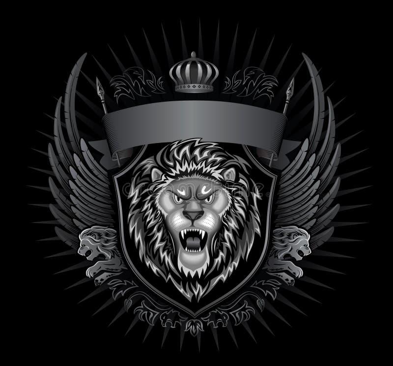 Leão preto rujir do fundo ilustração stock