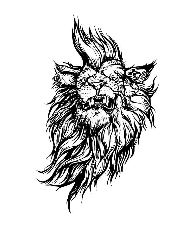Leão-punk realístico tirado mão do vetor ilustração do vetor