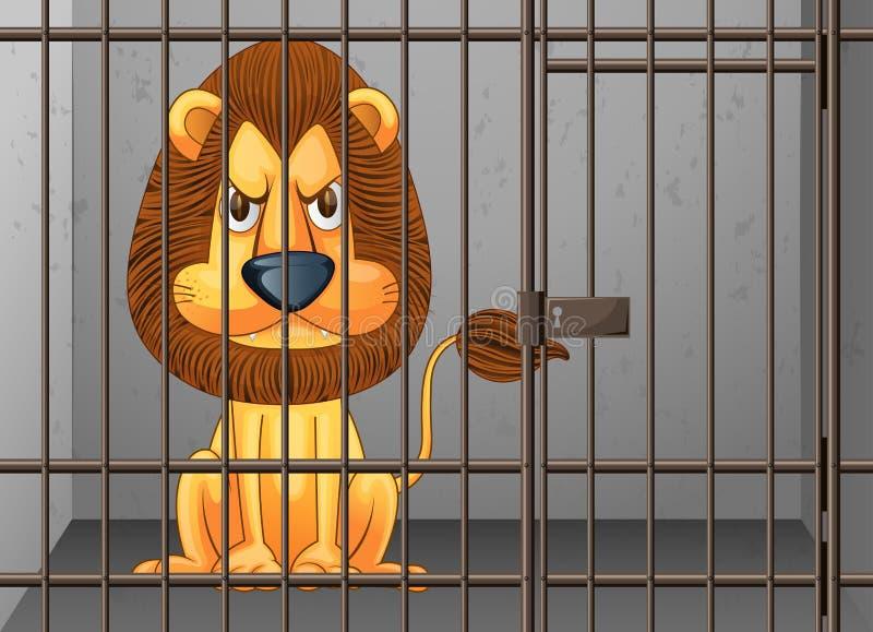 Leão que é fechado na gaiola ilustração royalty free