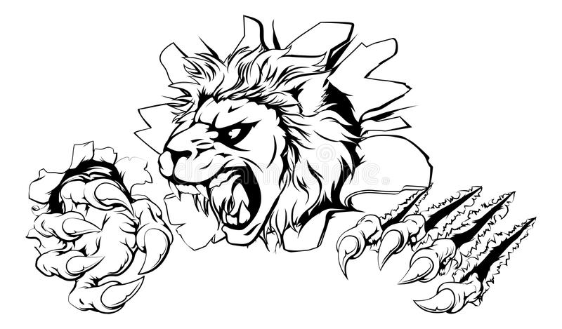 Leão que agarra através da parede ilustração do vetor