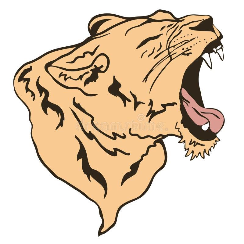 Leão que rosna ilustração royalty free