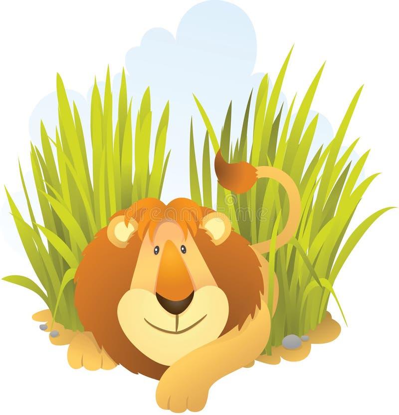 Leão que senta-se na grama ilustração do vetor
