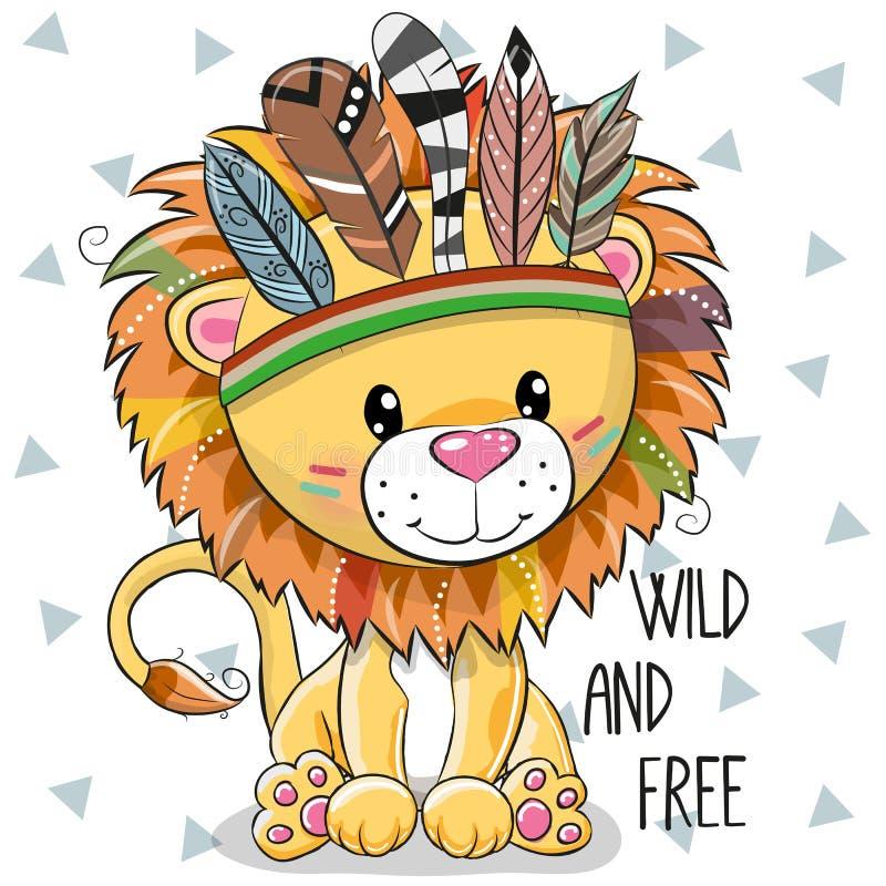 Leão tribal dos desenhos animados bonitos com penas ilustração do vetor