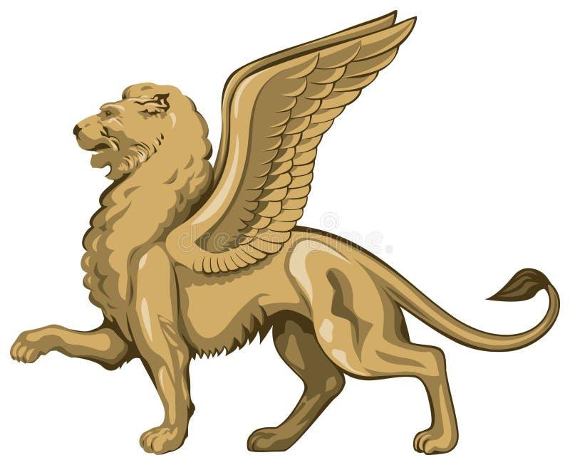 Leão voado ilustração do vetor