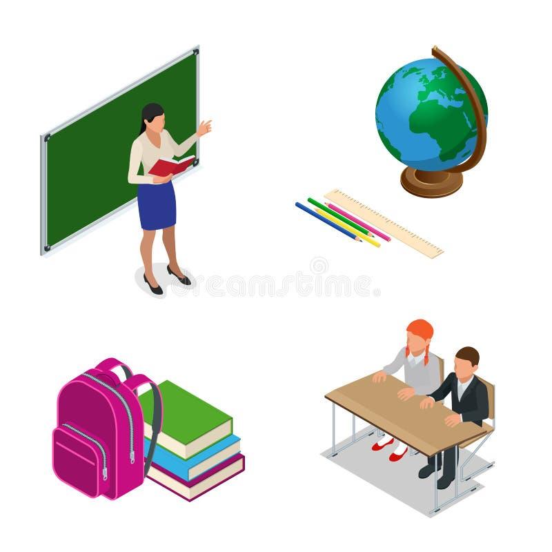 Leçon d'école de Sometric Petits étudiants et professeur Salle de classe isométrique avec le tableau vert, professeurs bureau, él illustration stock