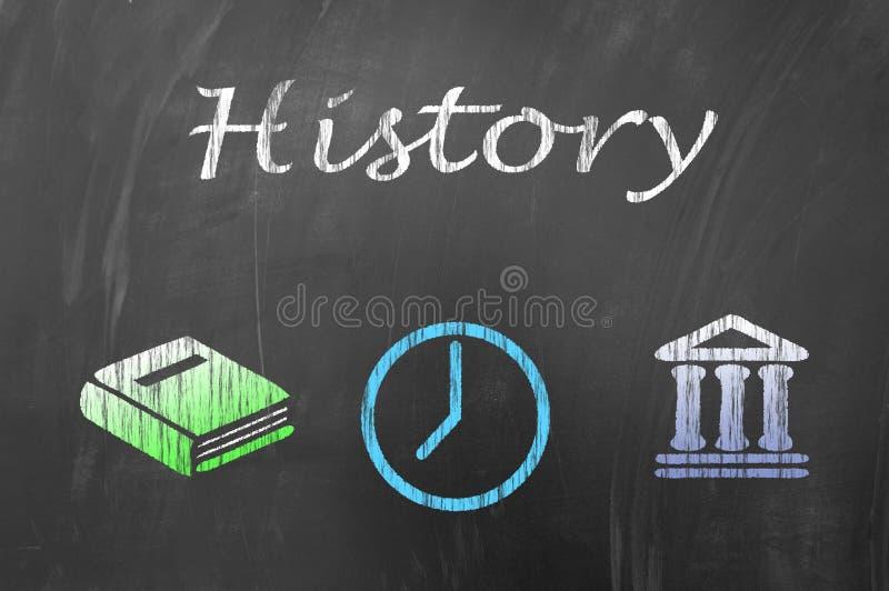 Leçon d'Histoire sur le concept de tableau noir d'école illustration libre de droits
