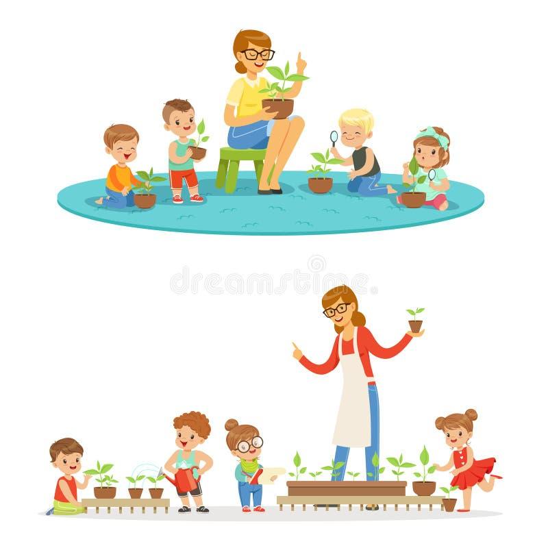 Leçon de biologie dans le jardin d'enfants, enfants regardant des jeunes plantes d'usine Illustrations colorées détaillées par ba illustration de vecteur