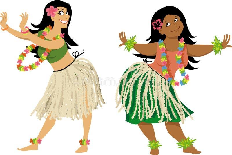 Leçon de danse de danse polynésienne illustration de vecteur