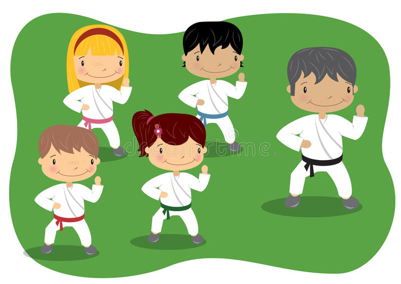 Leçon de karaté d'enfants illustration de vecteur