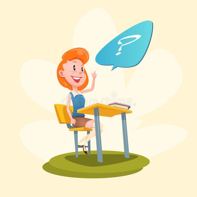 Leçon de main de Sit School Desk With Raised de fille illustration stock