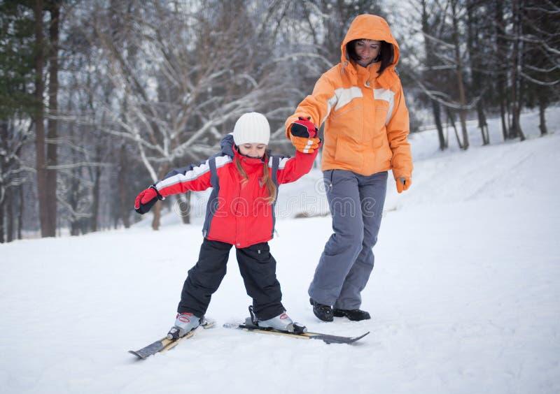 Leçon de ski photo stock
