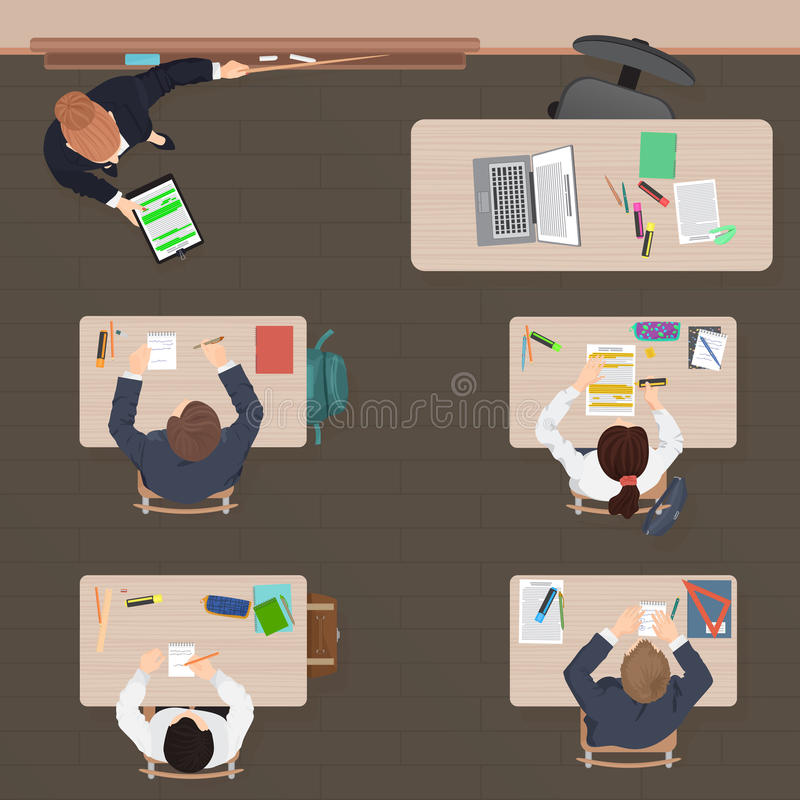 Leçon moderne de salle de classe dans l'école, l'université ou l'université Conception plate de couleur Vue supérieure illustration stock