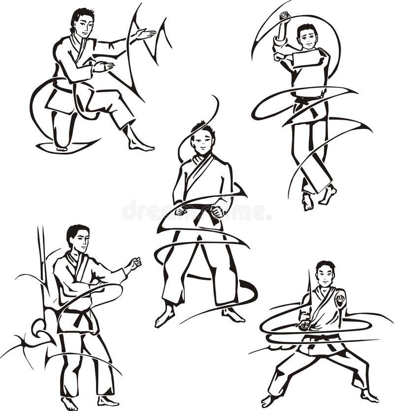 Leçons d'art martial illustration stock