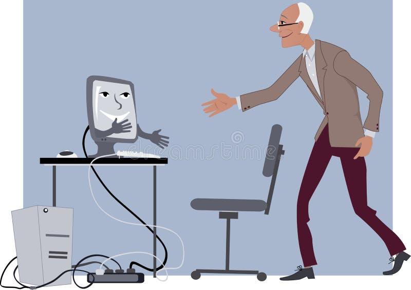 Leçons d'ordinateur pour des aînés illustration libre de droits