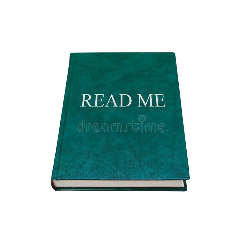 Leído me Libro manual con la cubierta verde aislada fotos de archivo libres de regalías