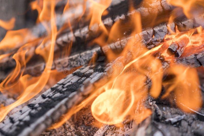 Leña ardiente en el cierre de la chimenea para arriba imagen de archivo libre de regalías