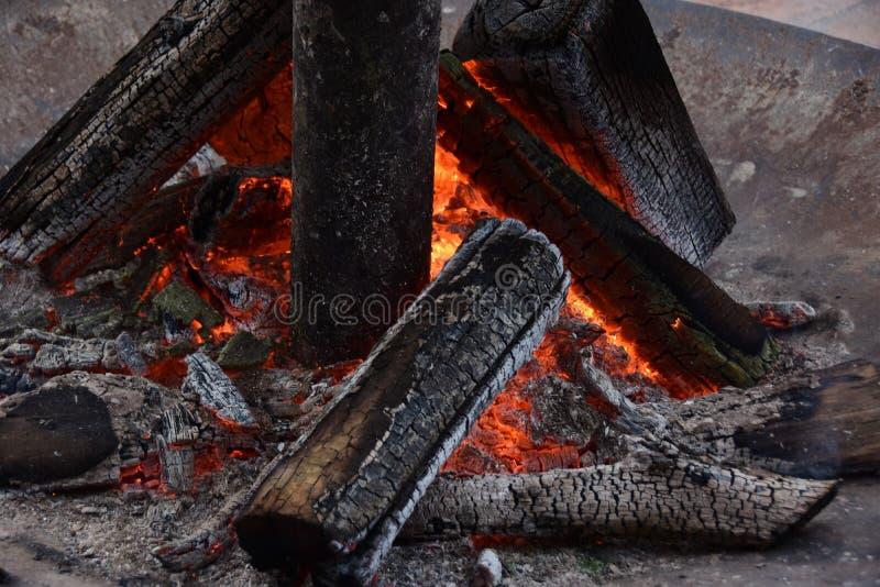 Leña ardiente en el cierre de la chimenea para arriba imagen de archivo