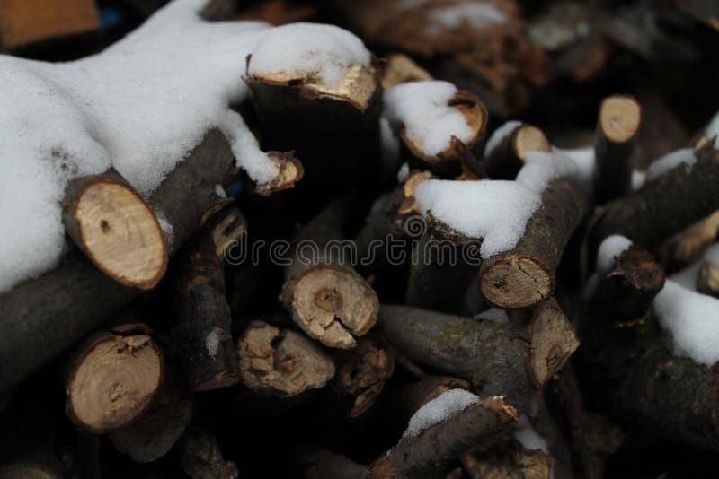 Leña debajo de la nieve foto de archivo