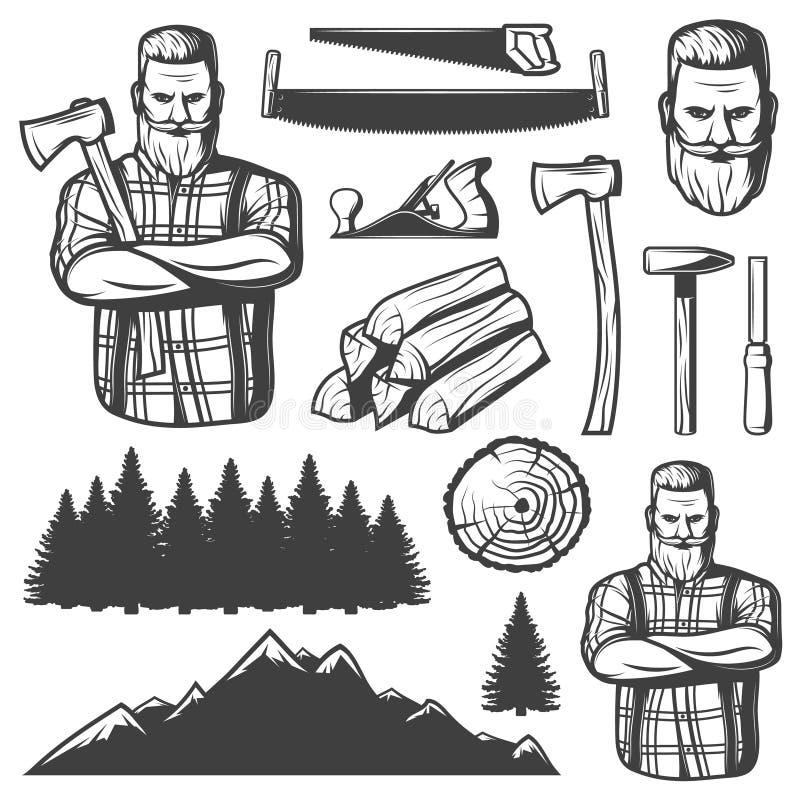 Leñador Emblem Elements del vintage libre illustration