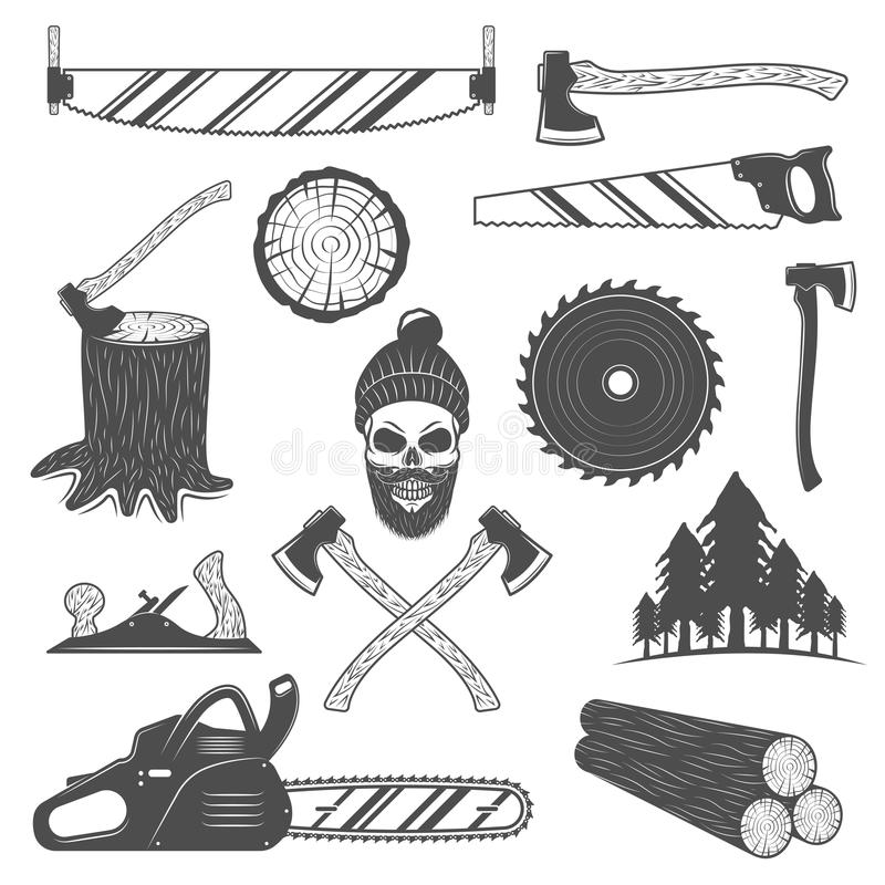 Leñador Monochrome Elements Set stock de ilustración