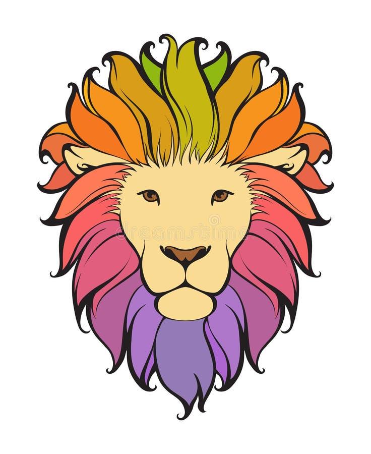 León abstracto colorido El ejemplo animal del vector se puede utilizar como diseño para el logotipo, tatuaje, camiseta, bolso, ca stock de ilustración