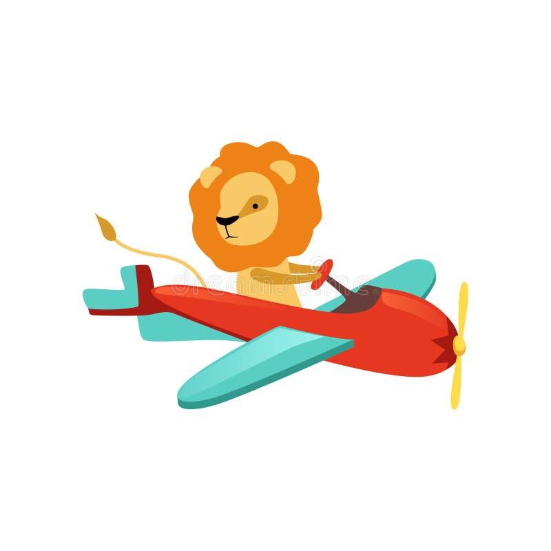 León africano con el vuelo peludo de la melena en poco aeroplano Personaje de dibujos animados del piloto divertido de los avione libre illustration