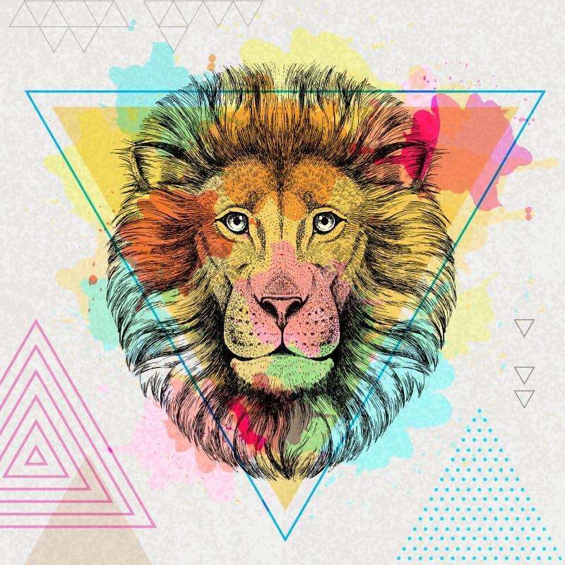 León animal del inconformista en fondo artístico de la acuarela del polígono libre illustration