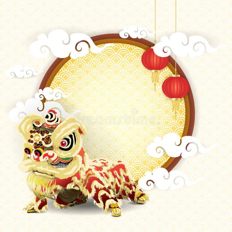 León chino en marco con las lámparas y las nubes fotos de archivo libres de regalías