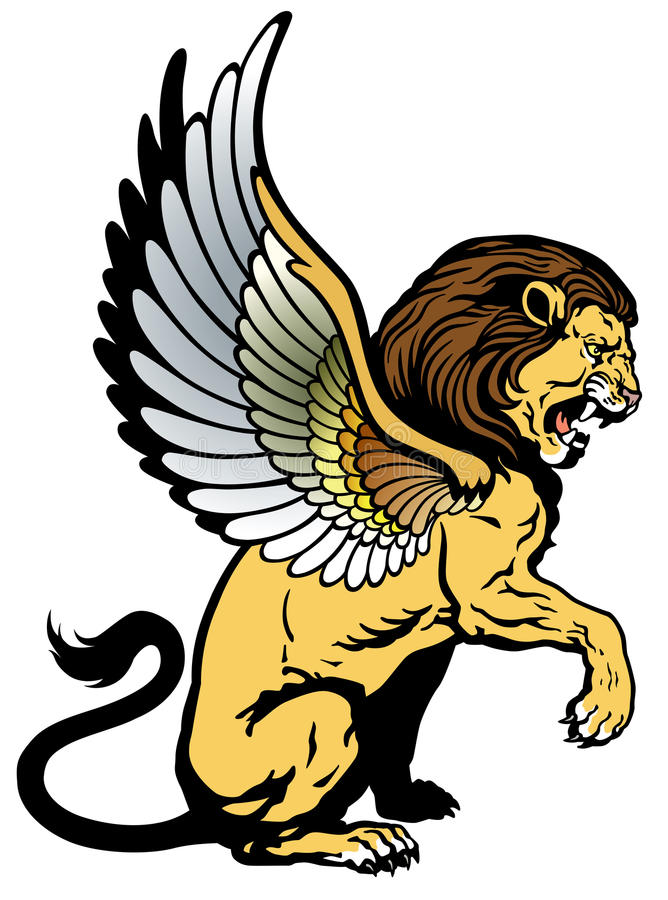 León con alas stock de ilustración