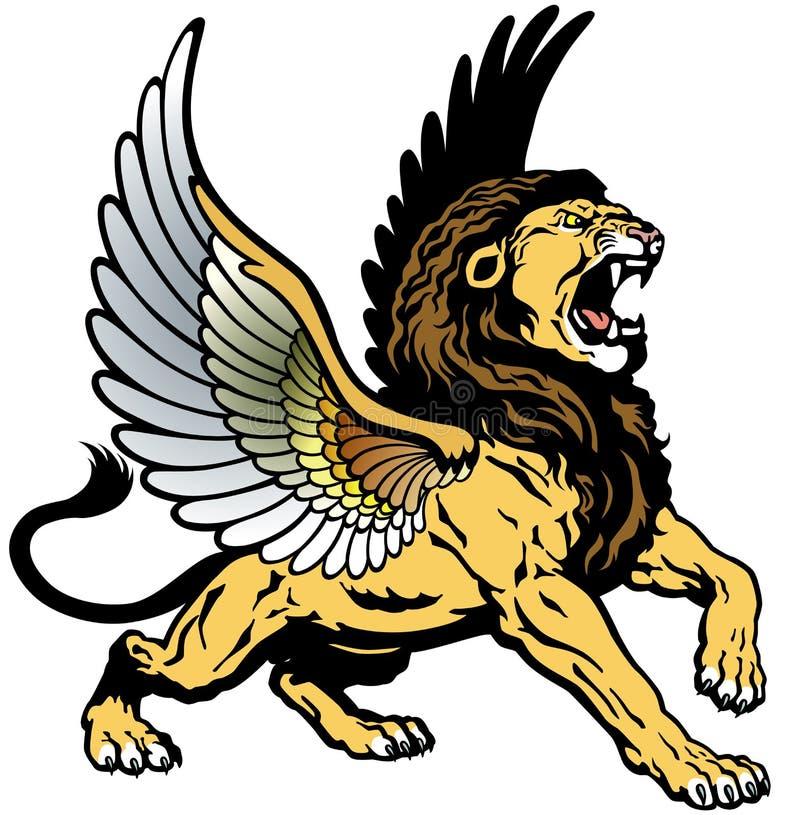 León con alas rugido stock de ilustración