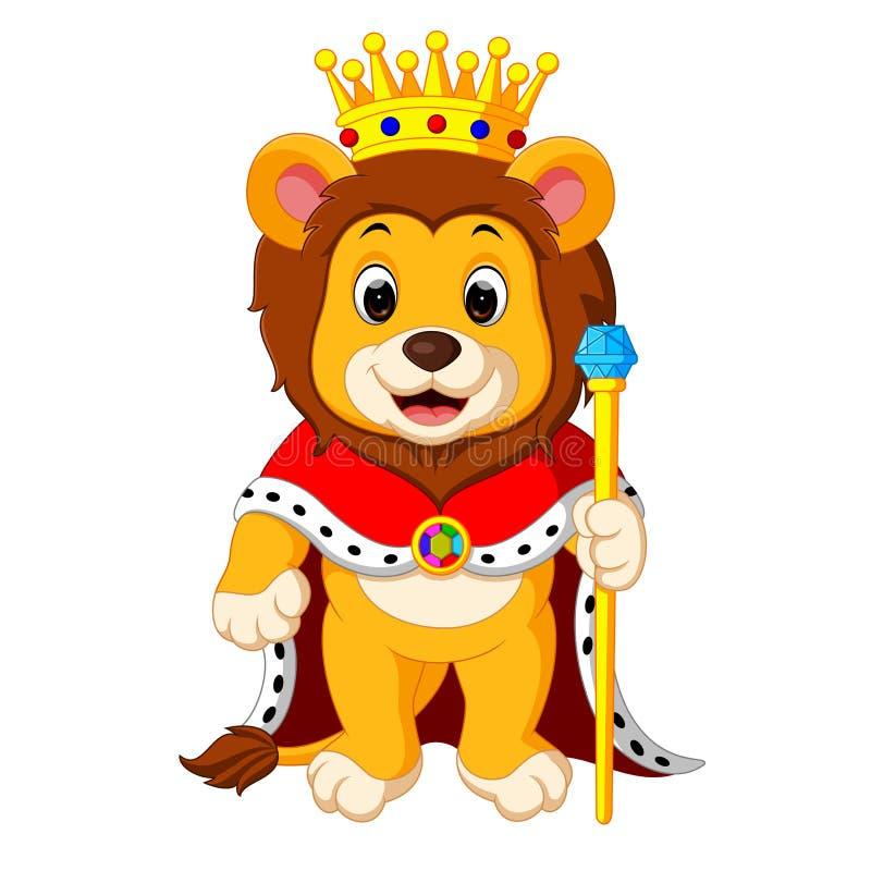 León con la corona stock de ilustración