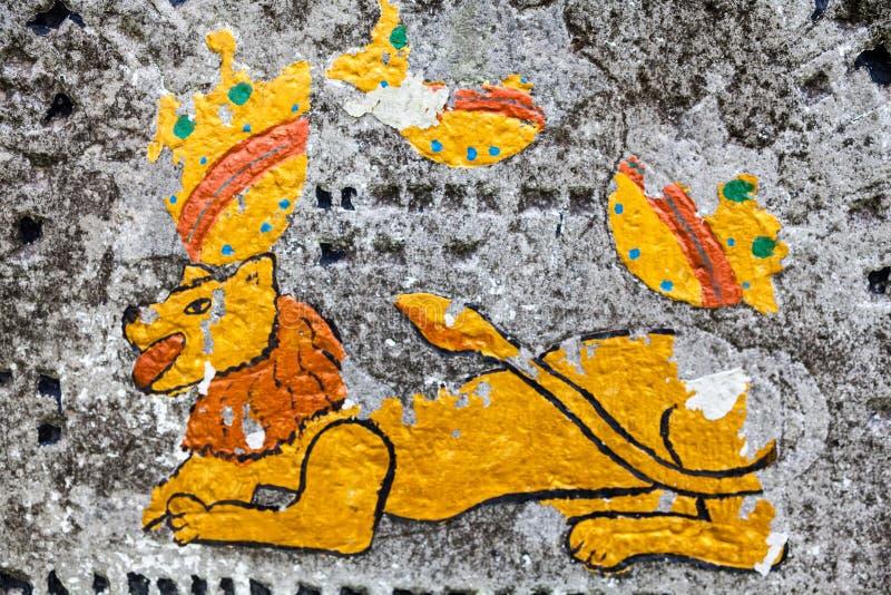León de Judah en la lápida mortuaria vieja fotografía de archivo