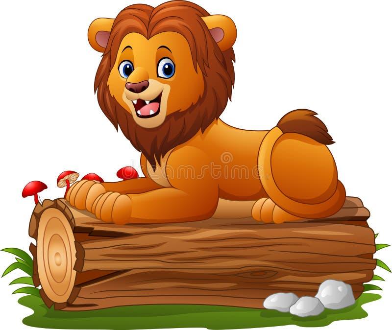 León de la historieta que se sienta en un registro del árbol ilustración del vector