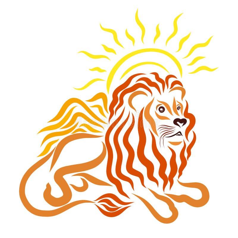León de mentira joven con alas y sol brillante stock de ilustración
