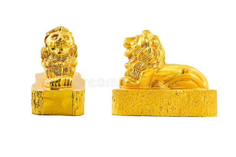 León de oro con la trayectoria de recortes imágenes de archivo libres de regalías