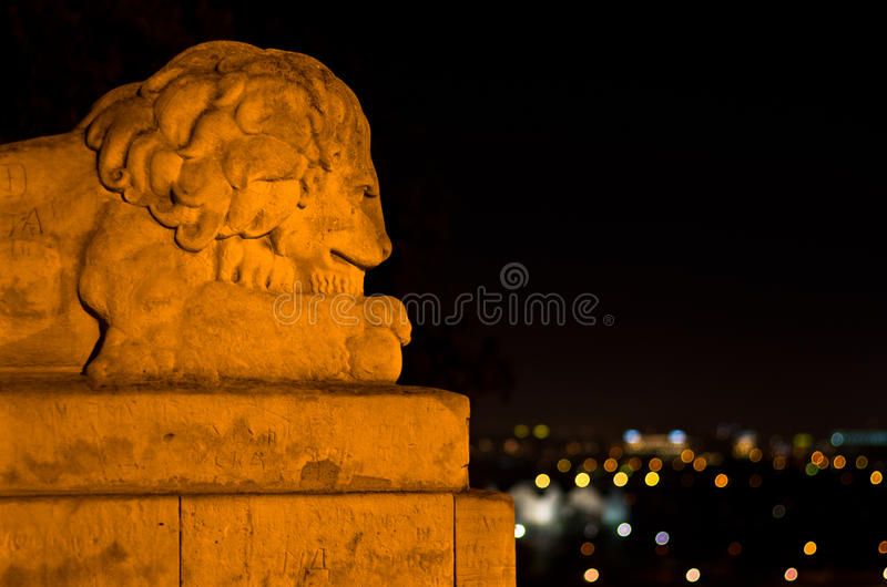 León de piedra y selva urbana foto de archivo libre de regalías